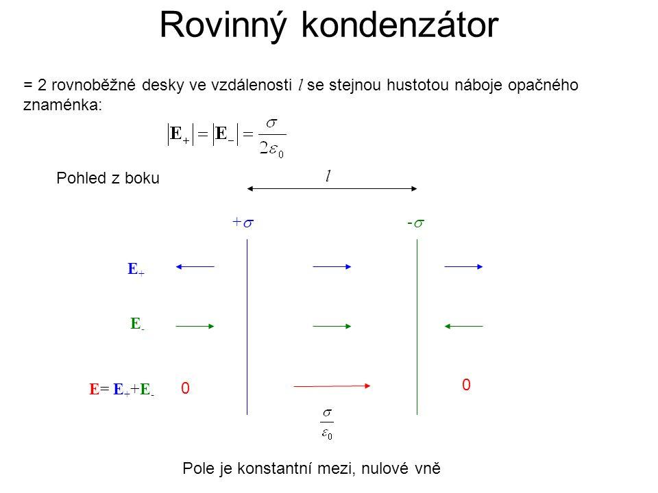 Rovinný kondenzátor = 2 rovnoběžné desky ve vzdálenosti l se stejnou hustotou náboje opačného znaménka: