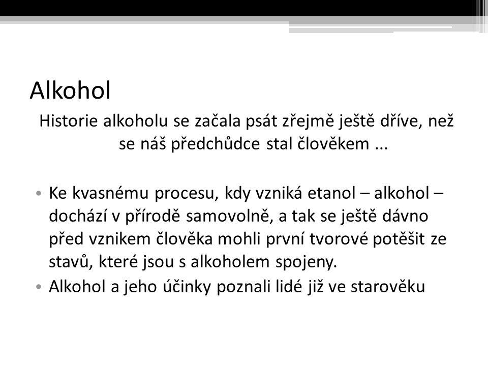 Alkohol Historie alkoholu se začala psát zřejmě ještě dříve, než se náš předchůdce stal člověkem ...