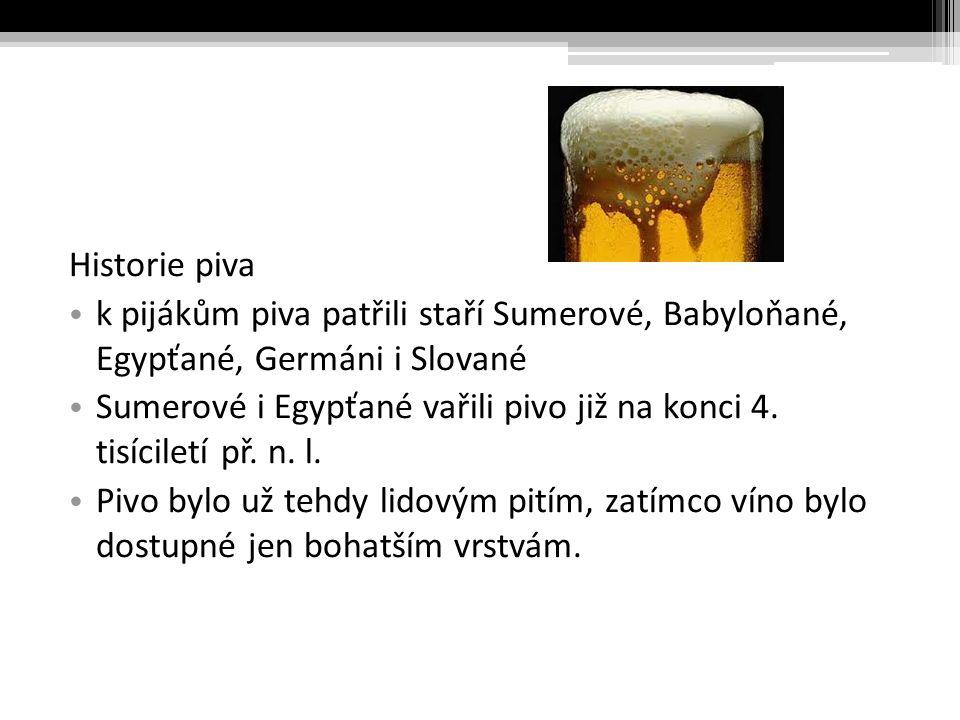Historie piva k pijákům piva patřili staří Sumerové, Babyloňané, Egypťané, Germáni i Slované.