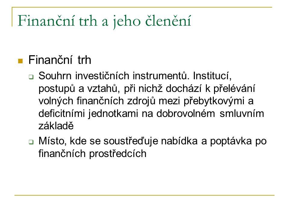 Finanční trh a jeho členění