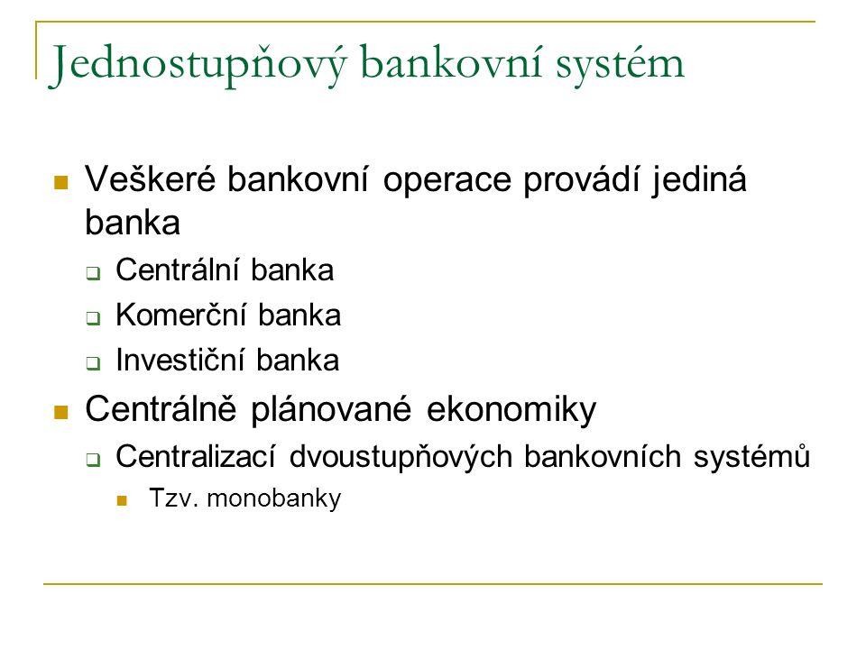 Jednostupňový bankovní systém