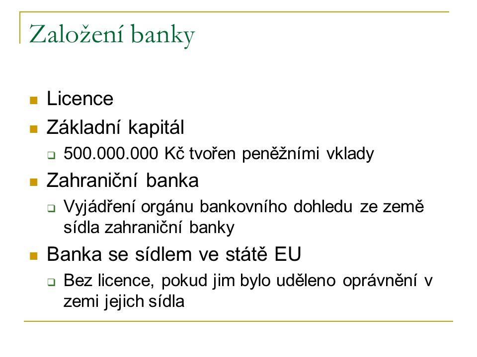 Založení banky Licence Základní kapitál Zahraniční banka