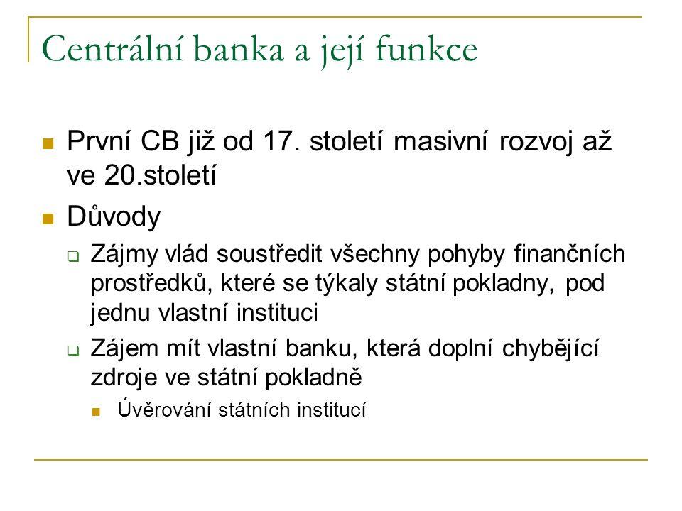 Centrální banka a její funkce