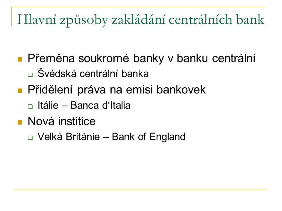 Hlavní způsoby zakládání centrálních bank