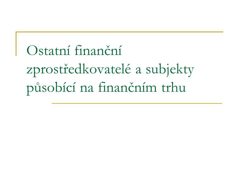 Ostatní finanční zprostředkovatelé a subjekty působící na finančním trhu