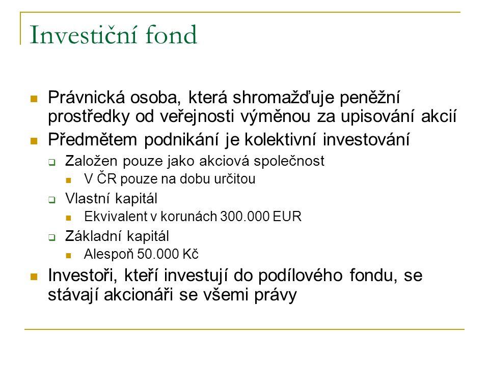 Investiční fond Právnická osoba, která shromažďuje peněžní prostředky od veřejnosti výměnou za upisování akcií.