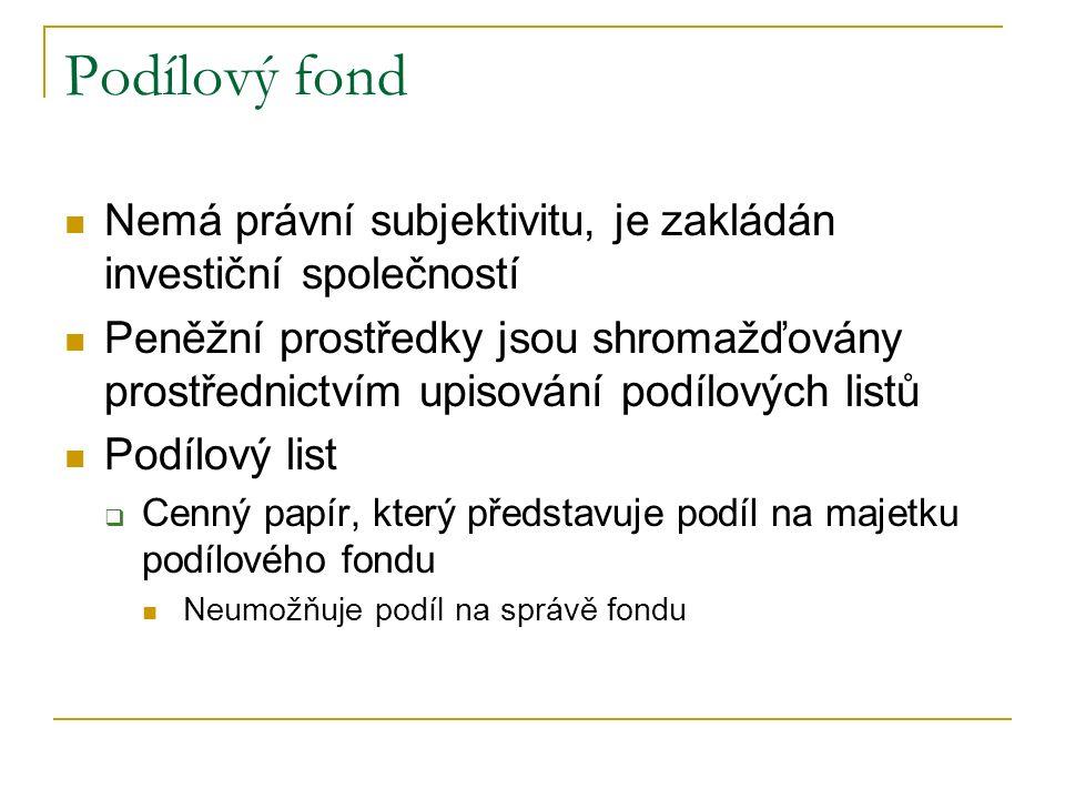 Podílový fond Nemá právní subjektivitu, je zakládán investiční společností.