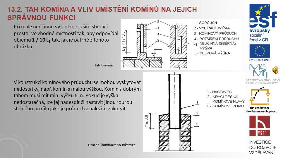 13.2. Tah komína a vliv umístění komínů na jejich správnou funkci