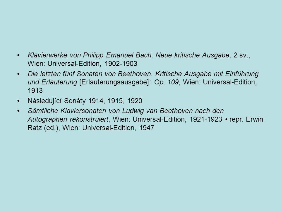 Klavierwerke von Philipp Emanuel Bach. Neue kritische Ausgabe, 2 sv
