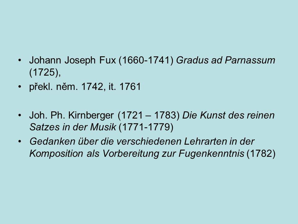 Johann Joseph Fux (1660-1741) Gradus ad Parnassum (1725),