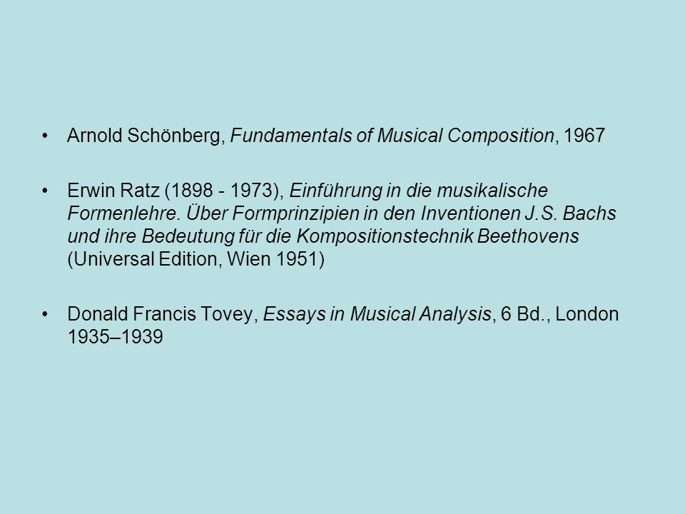 Arnold Schönberg, Fundamentals of Musical Composition, 1967