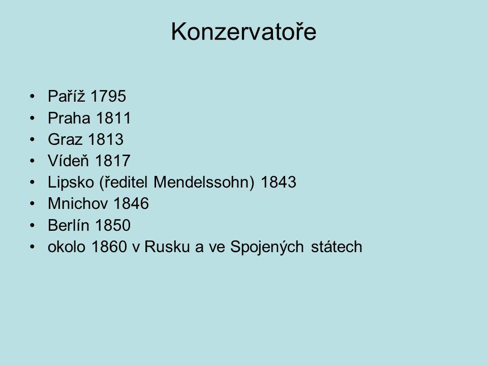 Konzervatoře Paříž 1795 Praha 1811 Graz 1813 Vídeň 1817