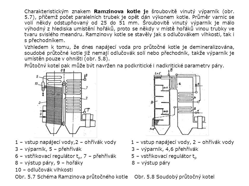 Charakteristickým znakem Ramzinova kotle je šroubovitě vinutý výparník (obr. 5.7), přičemž počet paralelních trubek je opět dán výkonem kotle. Průměr varnic se volí někdy odstupňovaný od 25 do 51 mm. Šroubovitě vinutý výparník je málo výhodný z hlediska umístění hořáků, proto se někdy v místě hořáků vinou trubky ve tvaru svislého meandru. Ramzinovy kotle se stavěly jak s odlučovákem vlhkosti, tak i s přechodníkem.