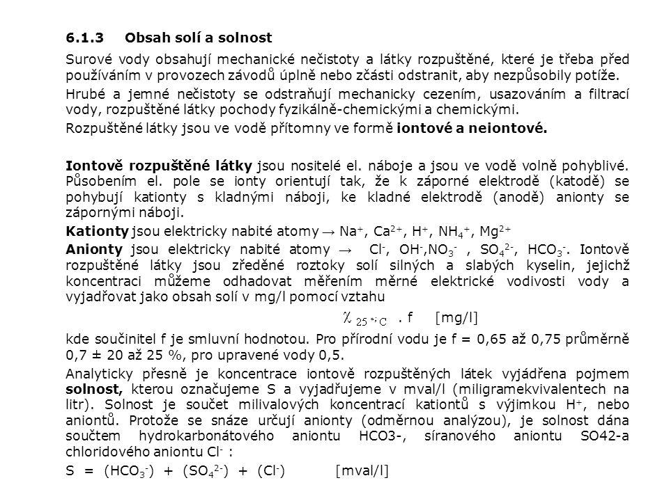 6.1.3 Obsah solí a solnost