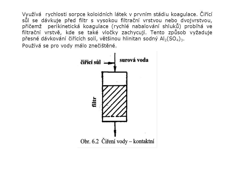 Využívá rychlosti sorpce koloidních látek v prvním stádiu koagulace