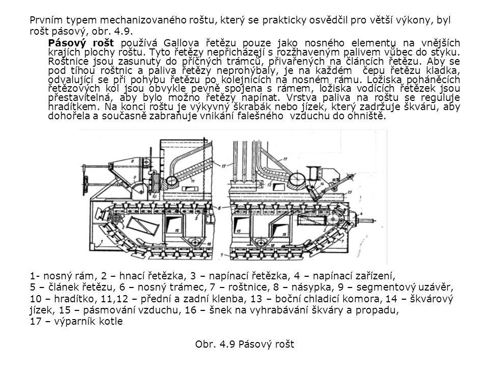 Prvním typem mechanizovaného roštu, který se prakticky osvědčil pro větší výkony, byl