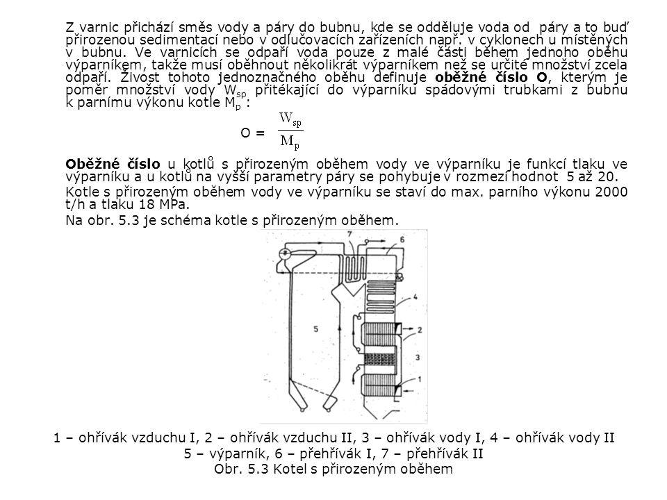 Na obr. 5.3 je schéma kotle s přirozeným oběhem.