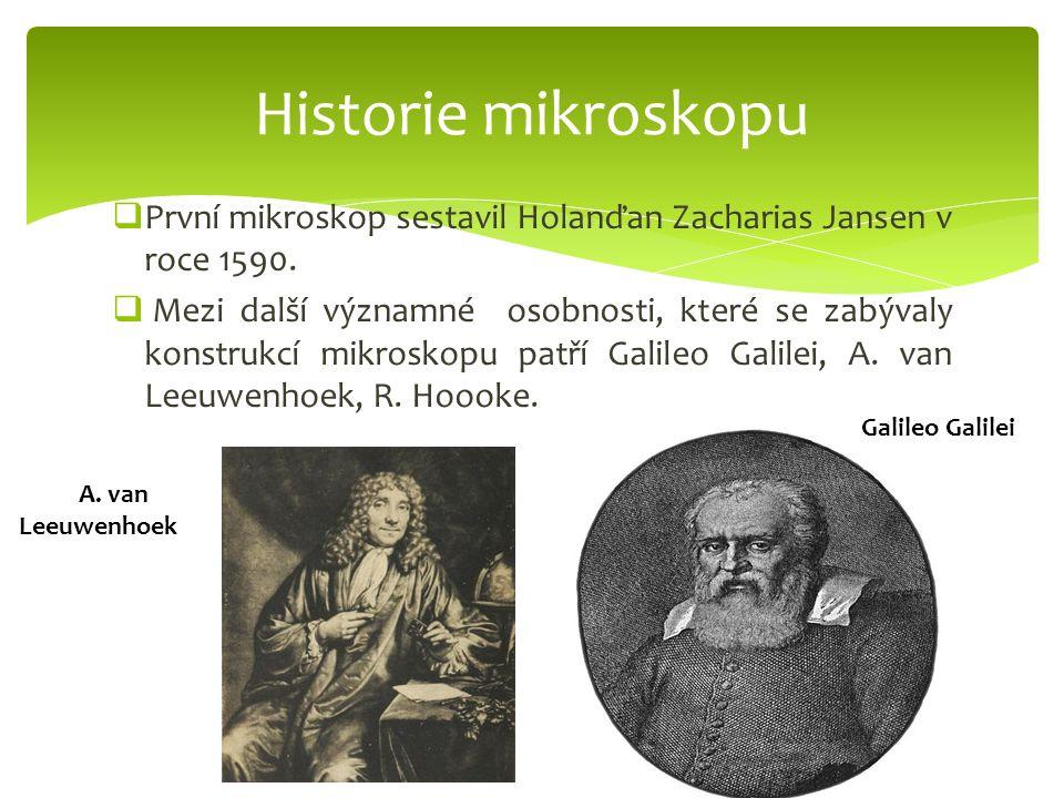 Historie mikroskopu První mikroskop sestavil Holanďan Zacharias Jansen v roce 1590.