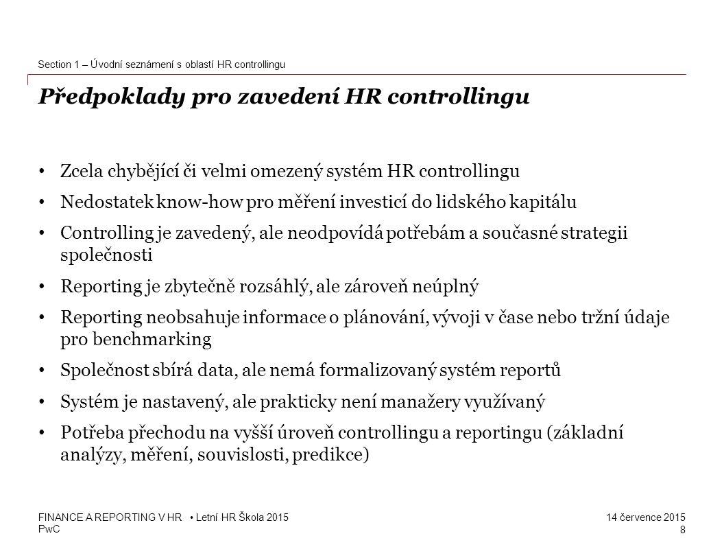 Předpoklady pro zavedení HR controllingu