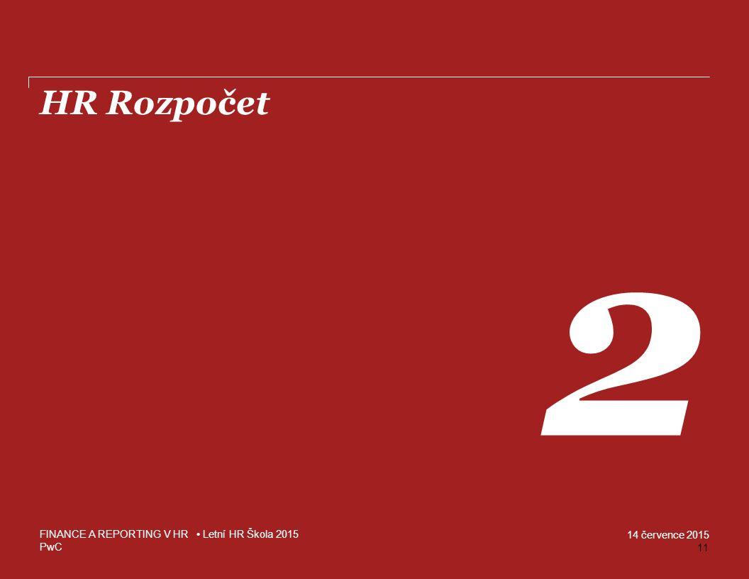 HR Rozpočet 2 FINANCE A REPORTING V HR • Letní HR Škola 2015 11