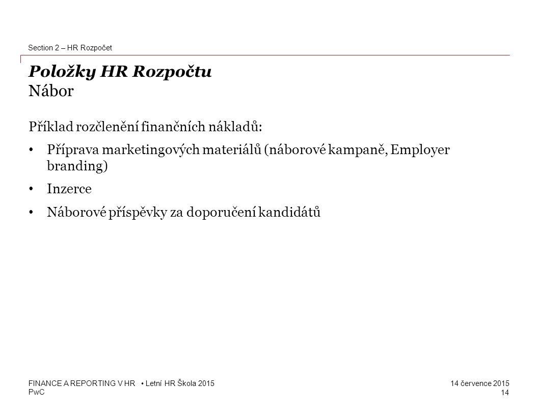 Položky HR Rozpočtu Nábor