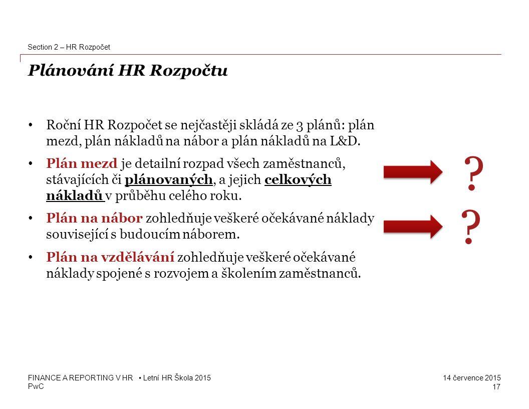 Section 2 – HR Rozpočet Plánování HR Rozpočtu.
