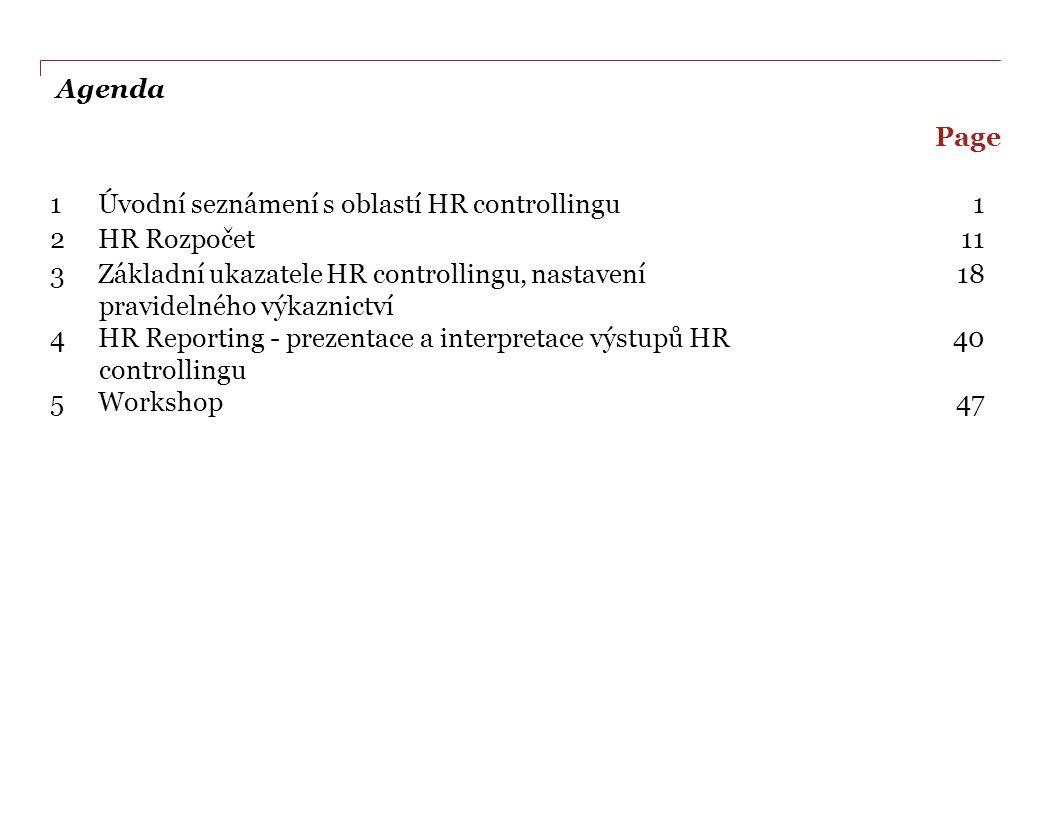 Agenda Page. 1 Úvodní seznámení s oblastí HR controllingu. 1. 2 HR Rozpočet. 11.