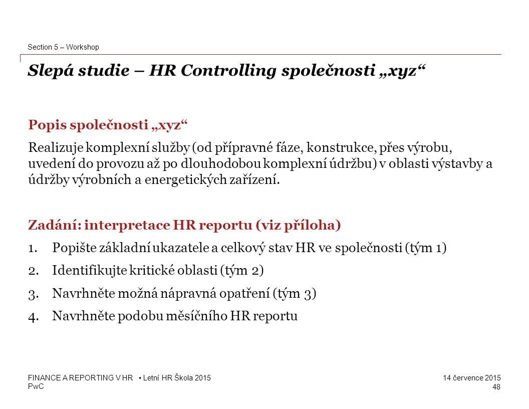 """Slepá studie – HR Controlling společnosti """"xyz"""
