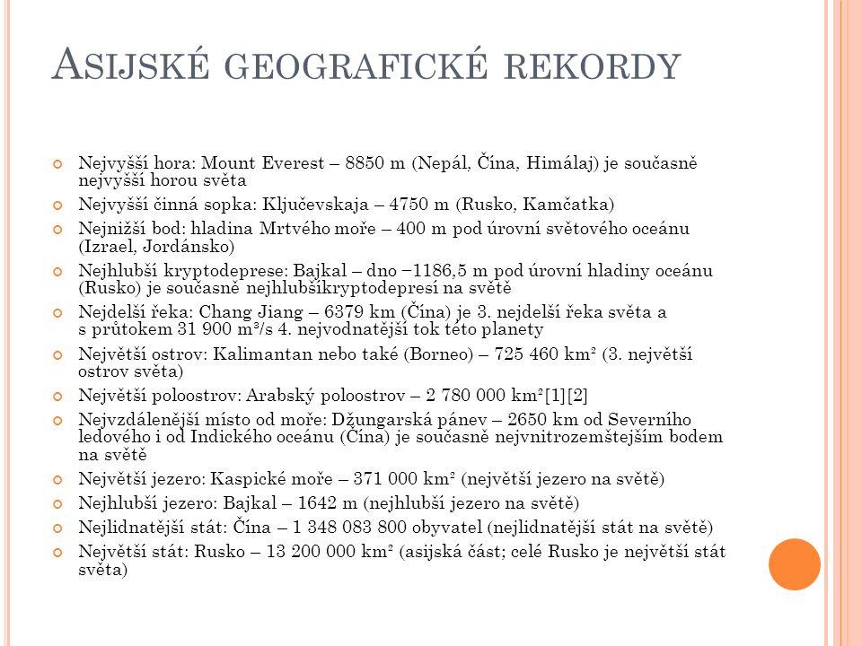Asijské geografické rekordy