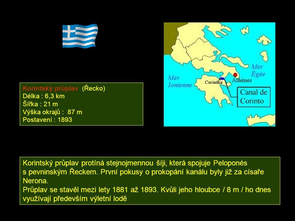 Korintský průplav protíná stejnojmennou šíji, která spojuje Peloponés