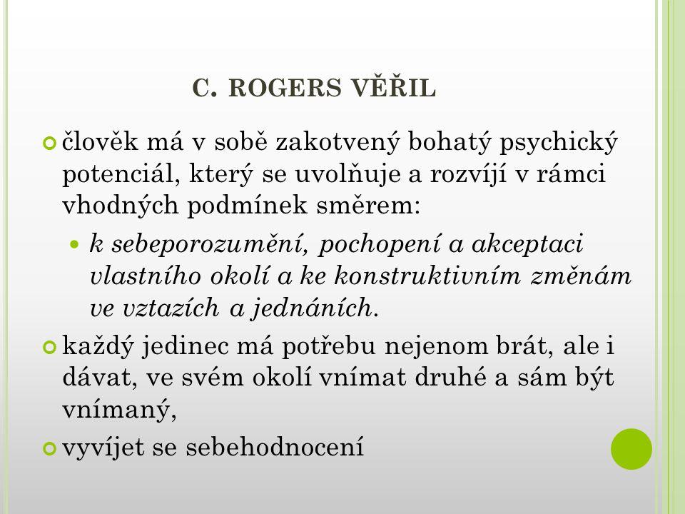 c. rogers věřil člověk má v sobě zakotvený bohatý psychický potenciál, který se uvolňuje a rozvíjí v rámci vhodných podmínek směrem: