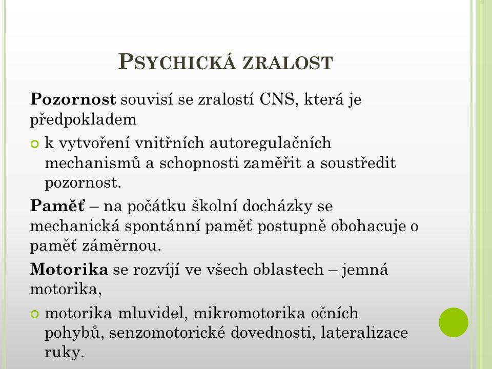 Psychická zralost Pozornost souvisí se zralostí CNS, která je předpokladem.