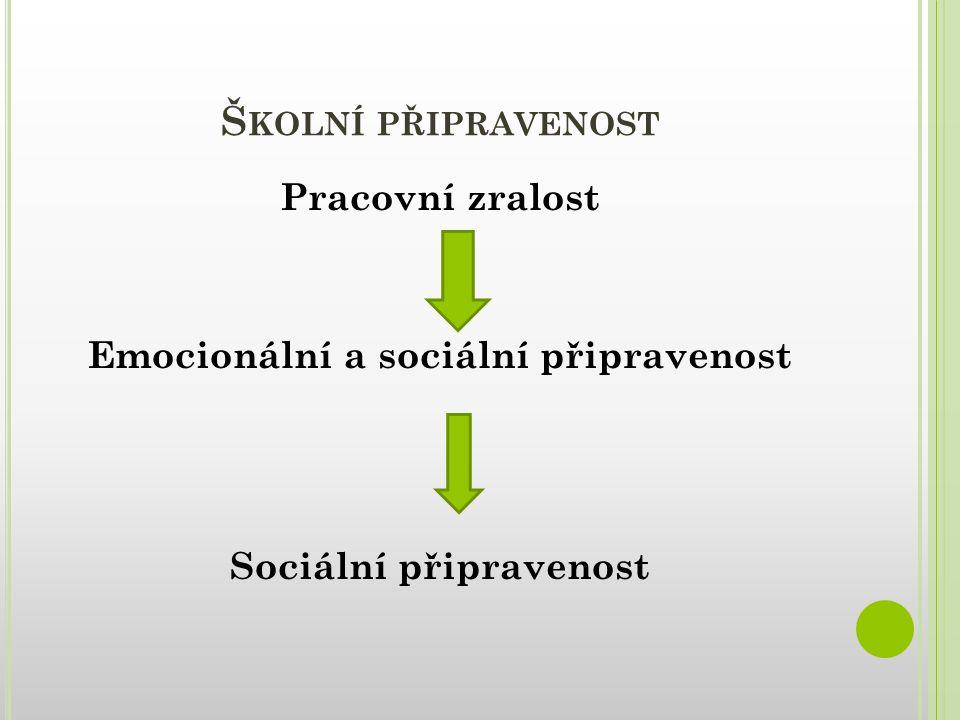 Školní připravenost Pracovní zralost Emocionální a sociální připravenost Sociální připravenost