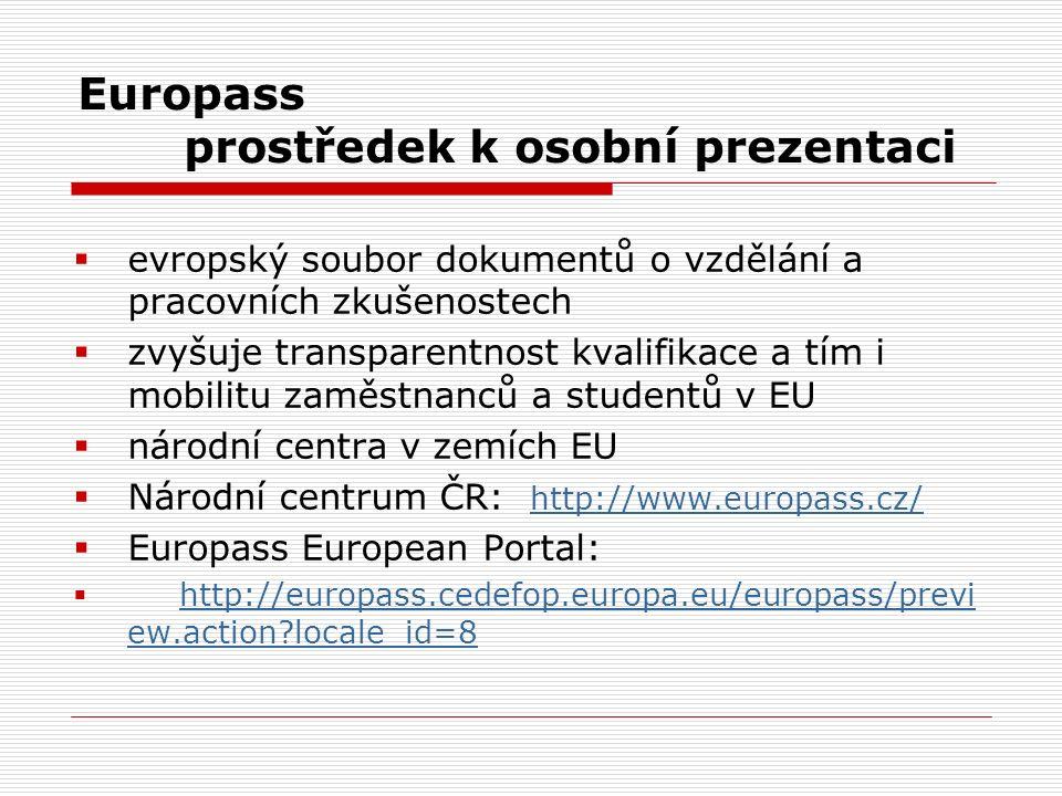 Europass prostředek k osobní prezentaci