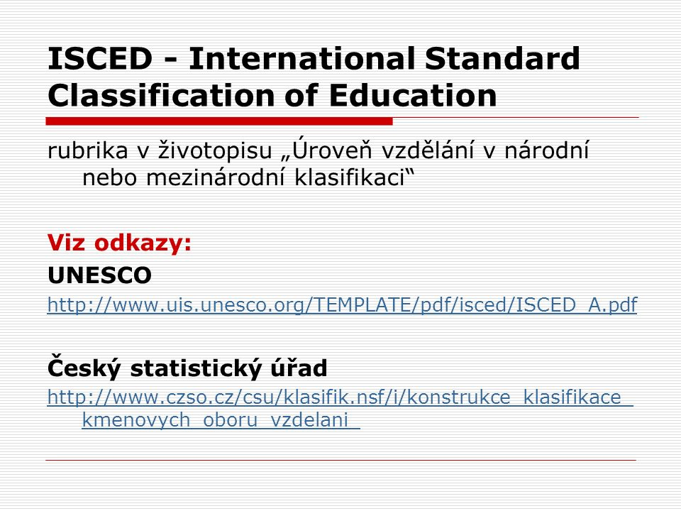 ISCED - International Standard Classification of Education