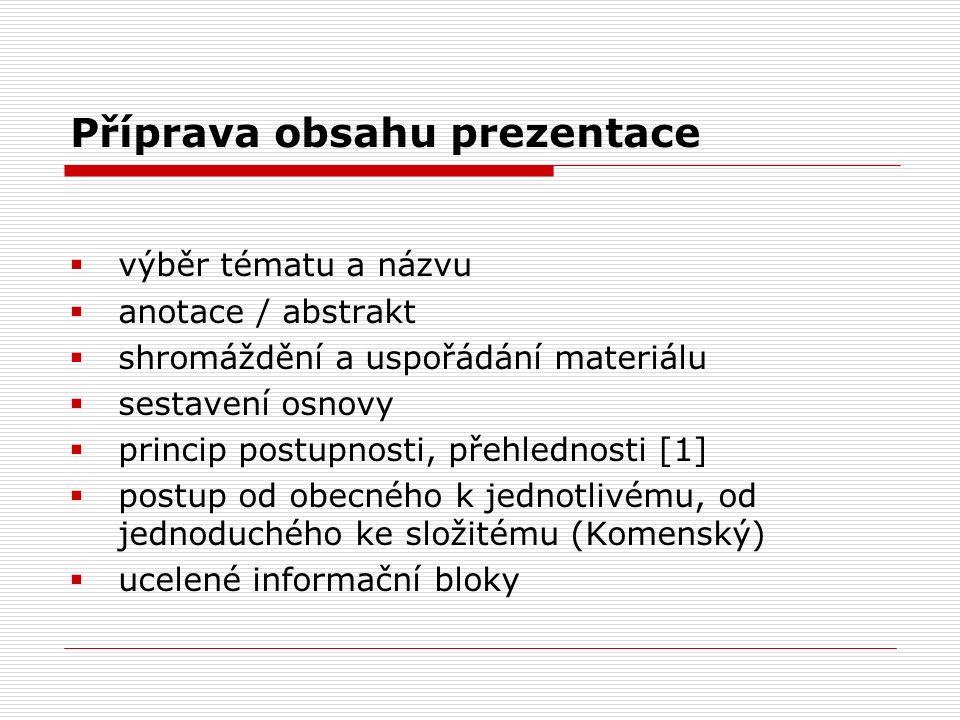 Příprava obsahu prezentace