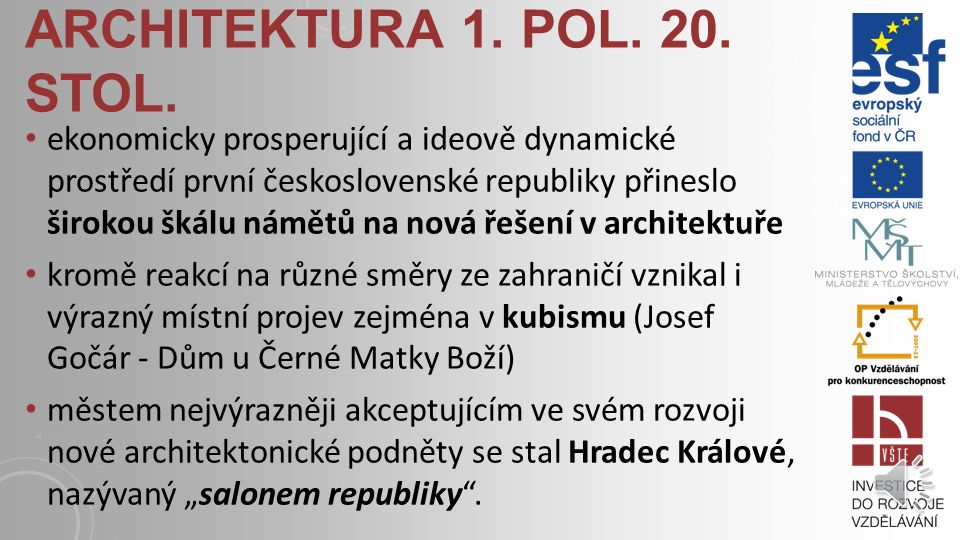 architektura 1. pol. 20. stol.