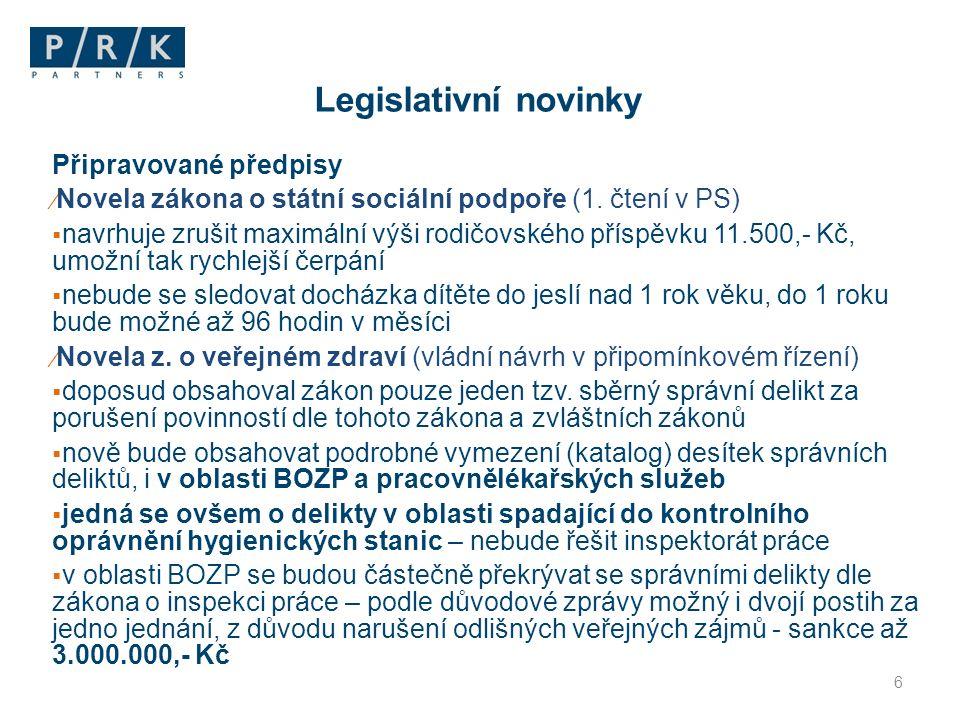 Legislativní novinky Připravované předpisy