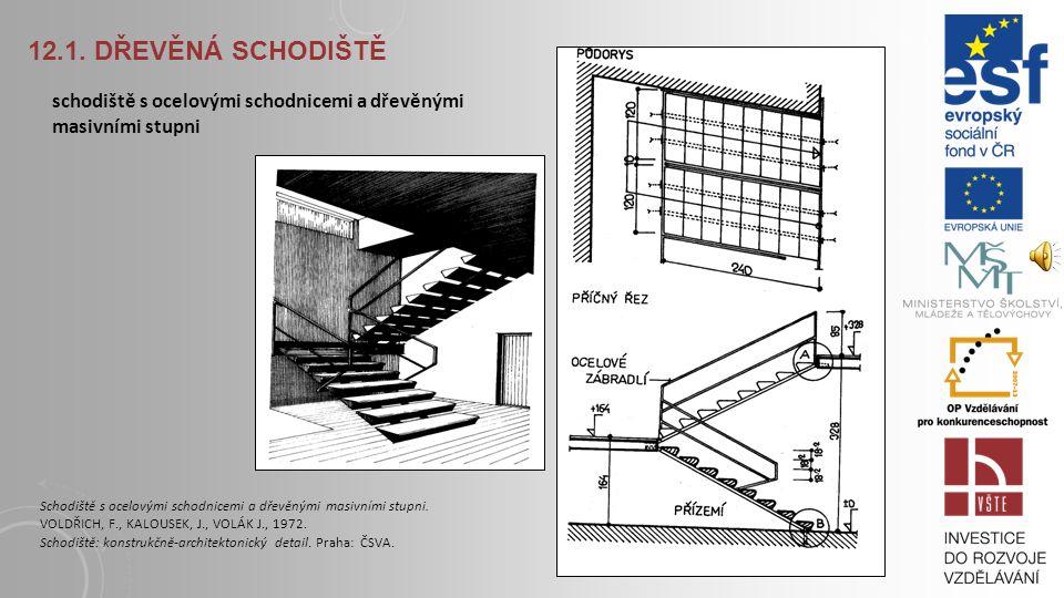 12.1. Dřevěná schodiště schodiště s ocelovými schodnicemi a dřevěnými masivními stupni.