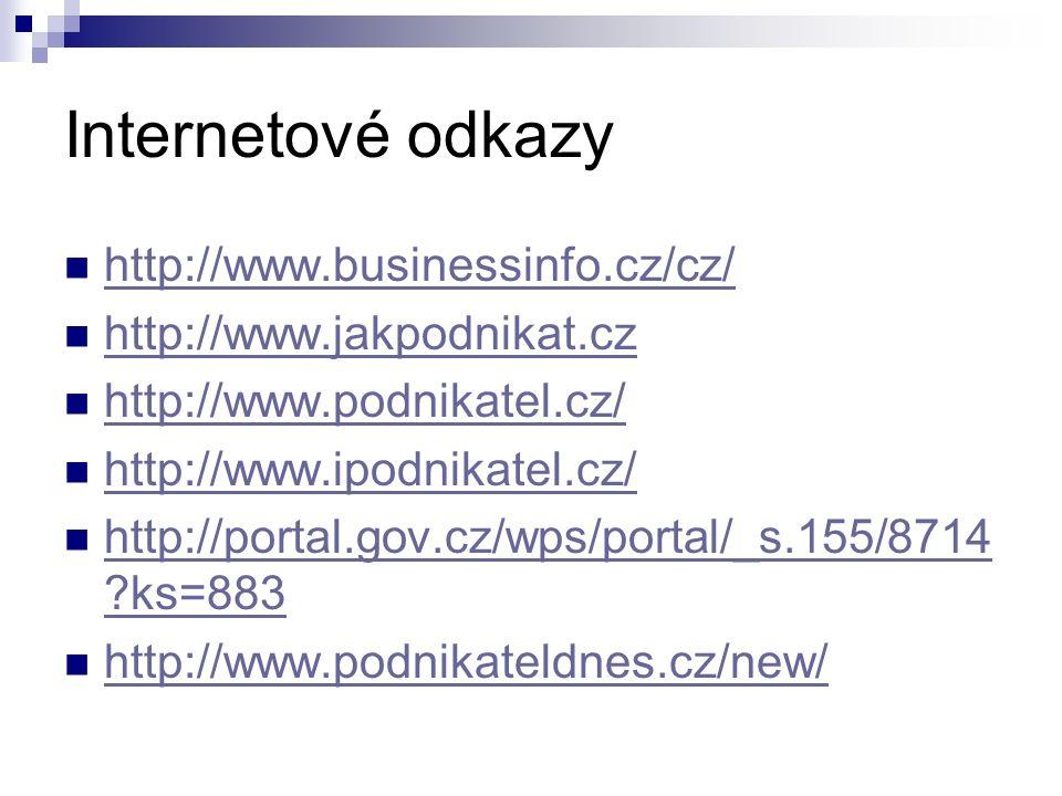 Internetové odkazy http://www.businessinfo.cz/cz/