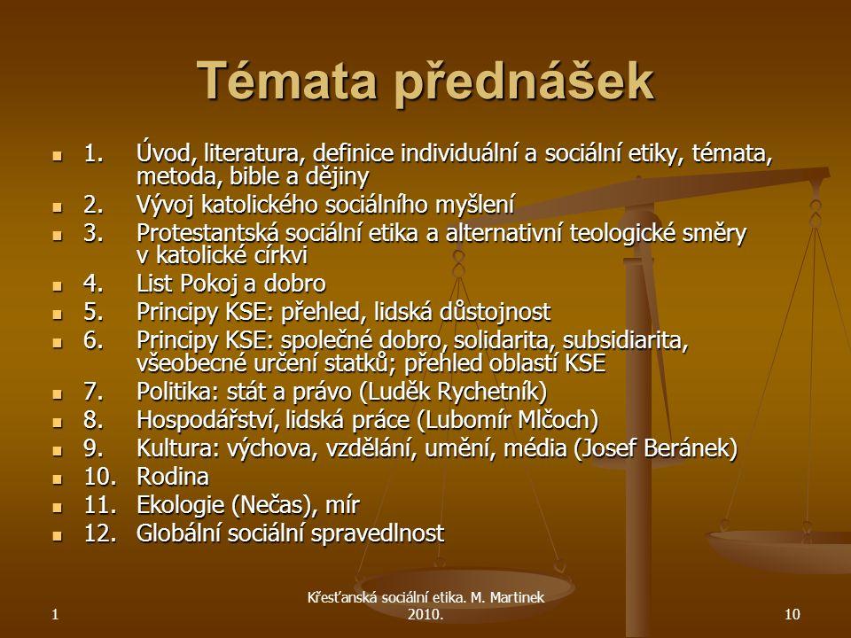 Křesťanská sociální etika. M. Martinek 2010.