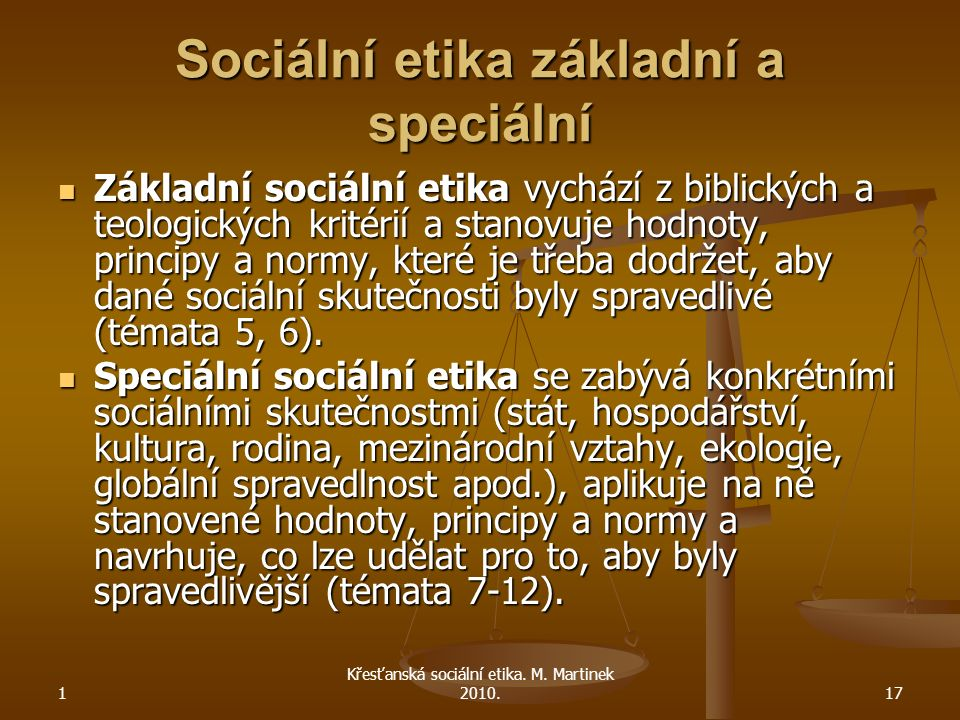 Sociální etika základní a speciální