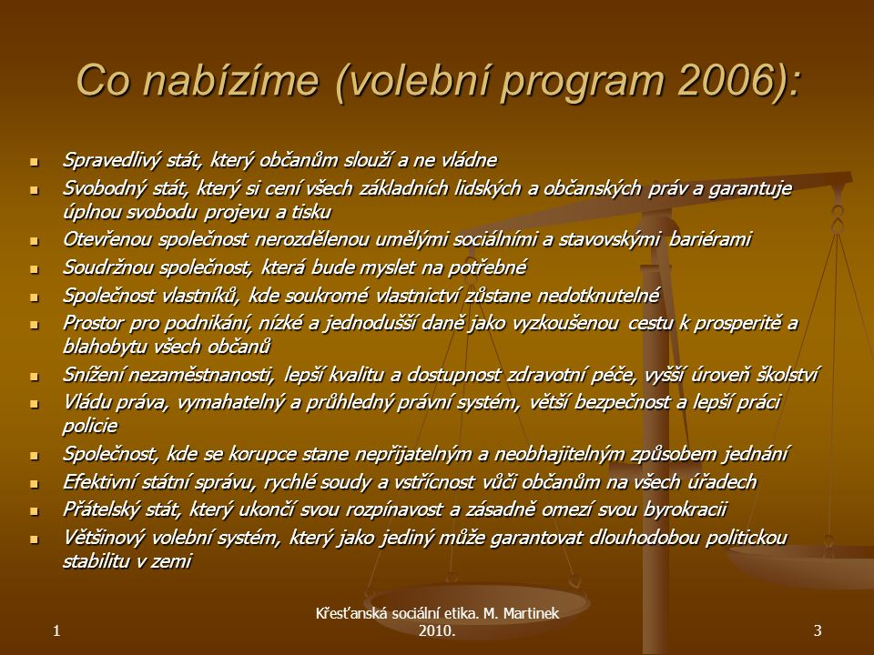 Co nabízíme (volební program 2006):