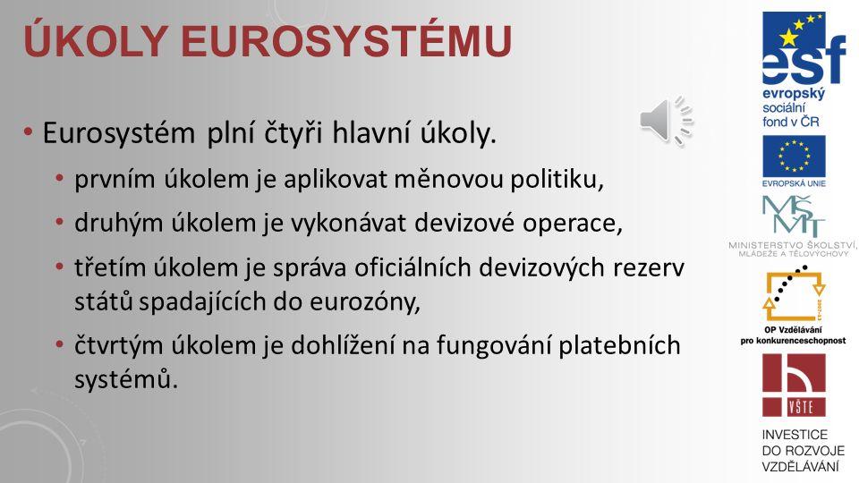 Úkoly Eurosystému Eurosystém plní čtyři hlavní úkoly.