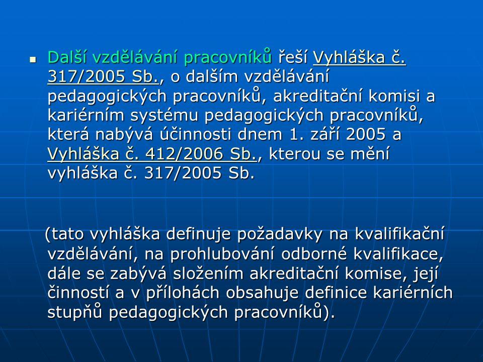 Další vzdělávání pracovníků řeší Vyhláška č. 317/2005 Sb