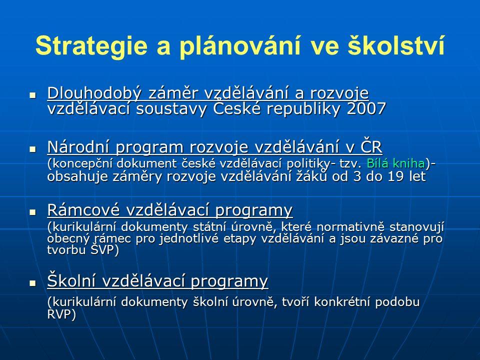 Strategie a plánování ve školství