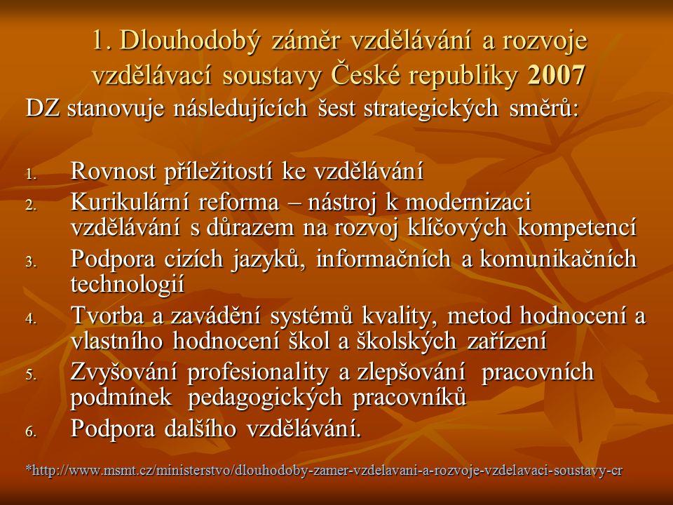 1. Dlouhodobý záměr vzdělávání a rozvoje vzdělávací soustavy České republiky 2007