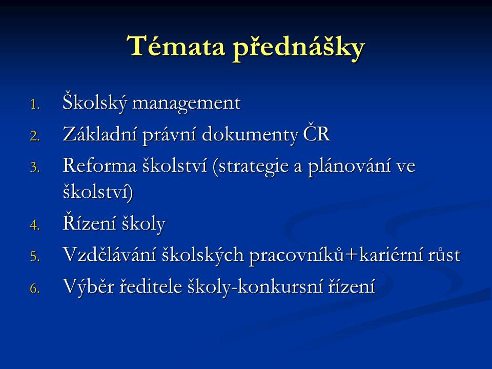 Témata přednášky Školský management Základní právní dokumenty ČR