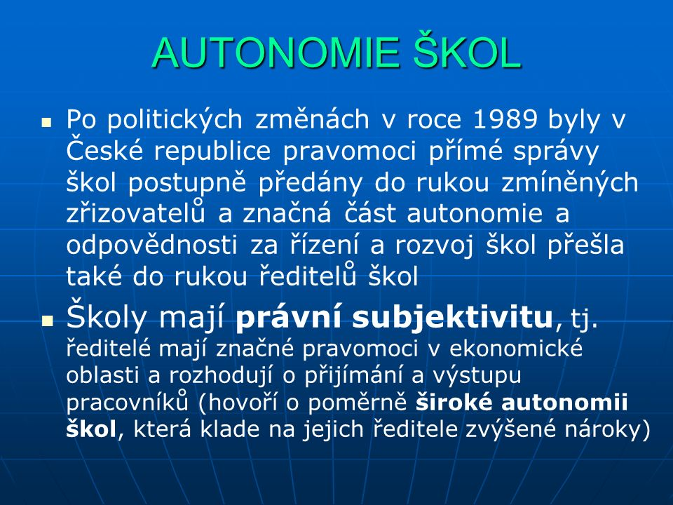 AUTONOMIE ŠKOL