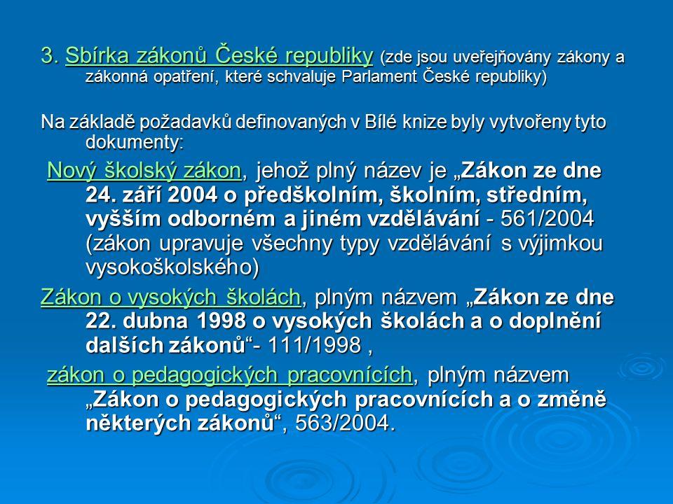 3. Sbírka zákonů České republiky (zde jsou uveřejňovány zákony a zákonná opatření, které schvaluje Parlament České republiky)